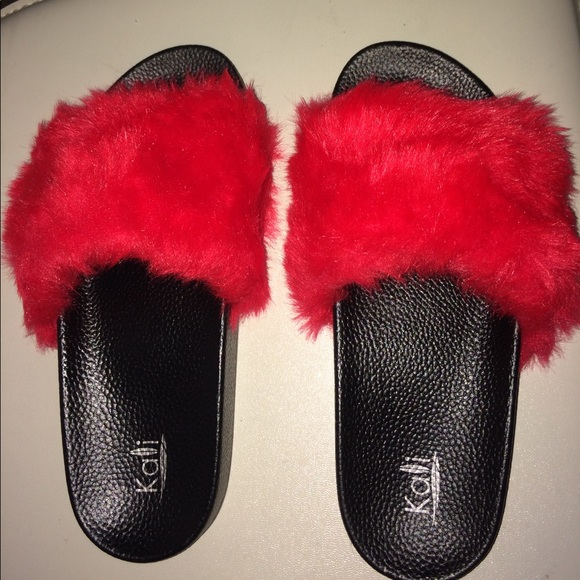 Shoes | Red Never Worn Furry Slides