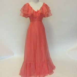 70's vintage Georgia peach floor length prom dress