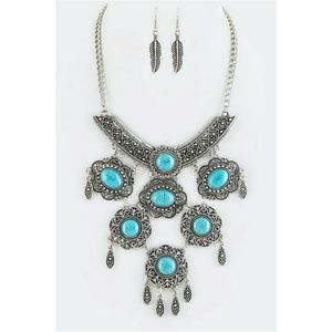 Turquoise Boho Chic Statement Necklace and Earring