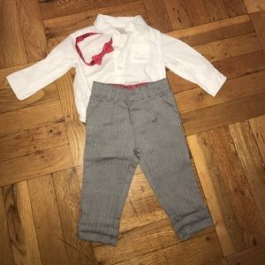 Boys Dress pants, shirt and bow tie 6 months suit