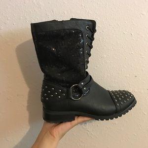 bling biker boots
