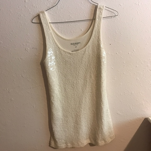 Old Navy Tops - Sequined front white old navy top