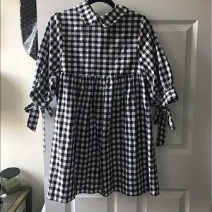 SheIn Gingham Black & White Dress SZ S