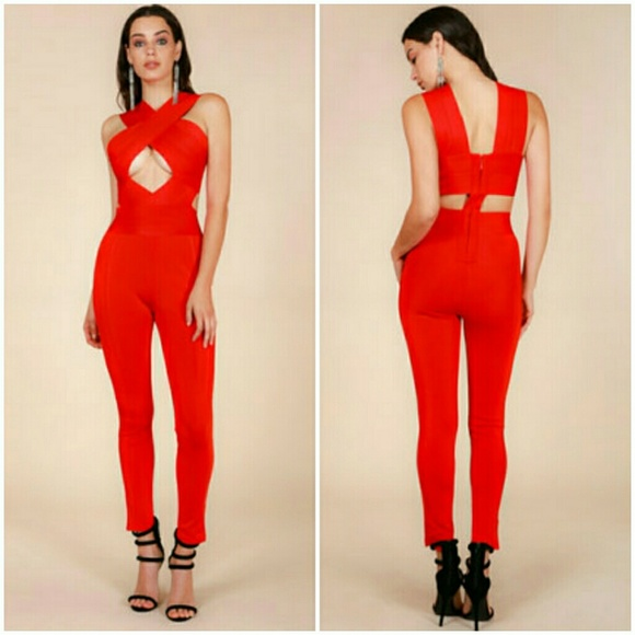 47876440e98 Wow couture Red Cross-over Front Bandage Jumpsuit
