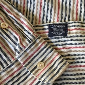BURBERRY Imported Cotton Striped Button Down LARGE
