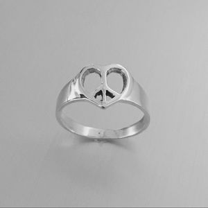 Jewelry - Sterling Silver Heart ❤️ Peace ✌️ Sign Ring