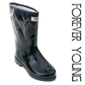 Women Mid Calf Quilted Rainboots, #1523, Black