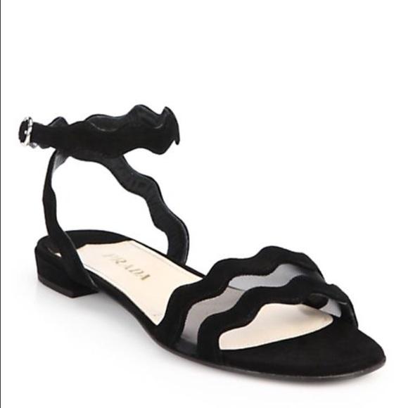 0c99dc3b44873 Prada Mesh & Suede Scalloped Sandals. M_595ae98afbf6f9ba99026b93