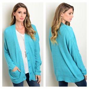 Sweaters - NIP turquoise cardigan