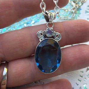 Topaz necklace 925 natural gemstone
