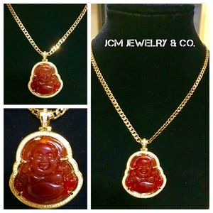 Other - 14K Gold Plated Cuban w/ Happy Buddha Medallion