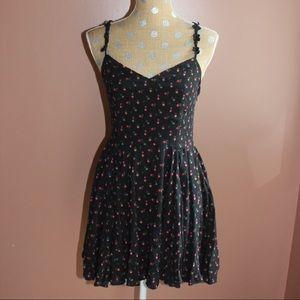 UO black floral lace up summer dress