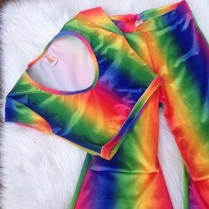 J Valentine Rainbow Velvet Crop Top