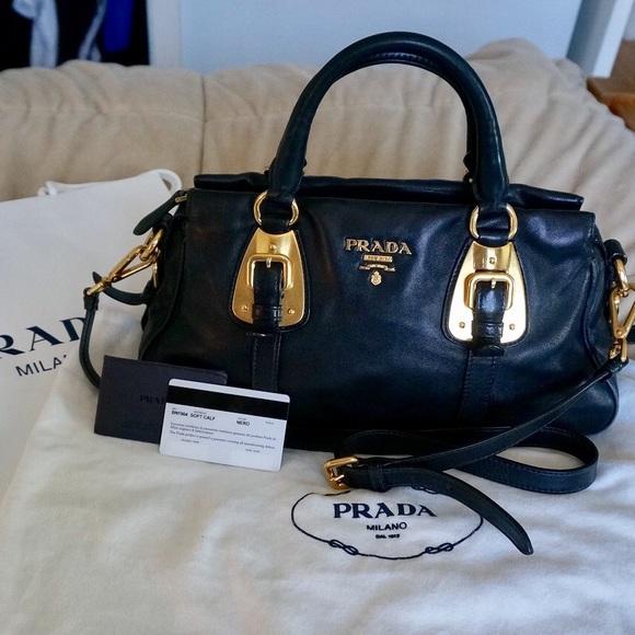 aed4ffe3eec892 Authentic Prada Bauletto Nero Soft Calf Leather. M_595fcc439c6fcfb0b90346a1