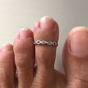 Jewelry - Sterling Silver Toe Ring with Amethyst CZ