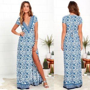 Small Lulu's blue floral Wrap maxi dress