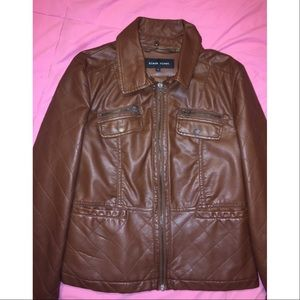 BLACK RIVET Brown leather jacket