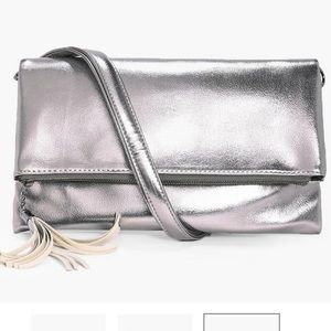 Boohoo Metallic Fold over Clutch - PEWTER