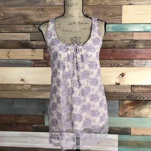 CAbi Lavendar Creamy Beige Lace Tunic XS