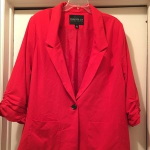 NWOT Forever 21 Red Boyfriend Jacket. Size 3x