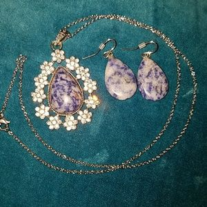 Jewelry - Blue sodalite earrings and pendant set