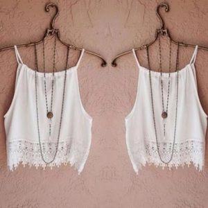 White Lace Hem Crop Top Camisole