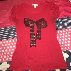 Forever 21 Red Ruffle Sleeve Shirt