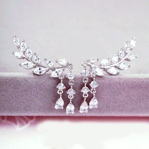 Jewelry - Silver or Gold Flower Crystal Ear Climber Earrings