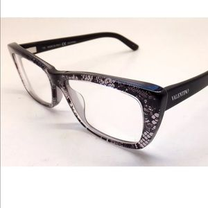 Valentino Cat Eye Square Black Lace Eyeglasses❤️