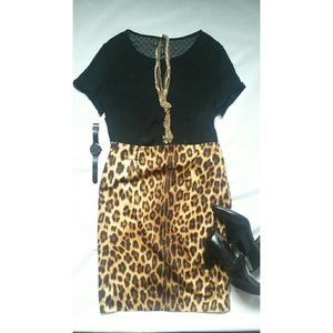 Zara Leopard Print Skirt XL