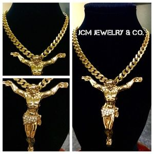 "Other - 14K Gold Plated Necklace w/ 3.5"" Open Arm Jesus"