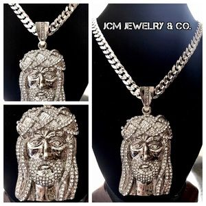 "Other - Silver 30"" Cuban Necklace w/ Jesus Head Piece"