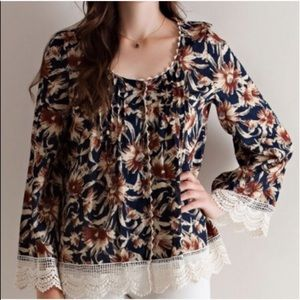 Bell Sleeve Blouse with Crocheted Detailing