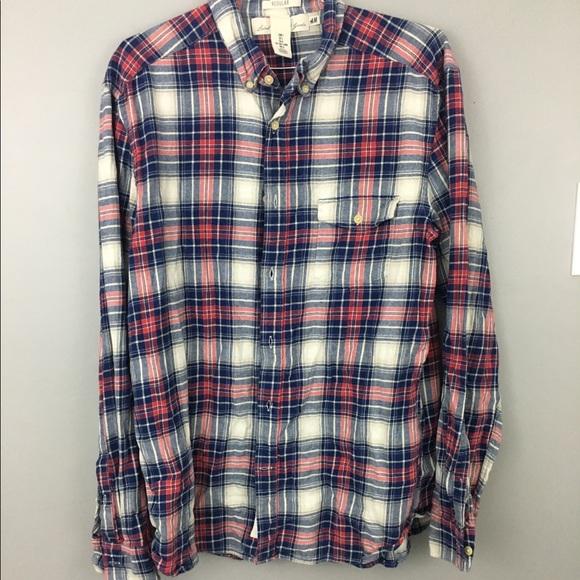 H M Logg Mens H M Red Blue Cotton Flannel Shirt Large