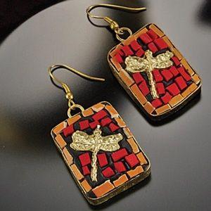 Artisan Made Mosaic Dragonfly Earrings