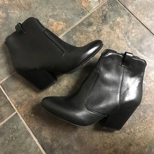 Jeffrey Campbell Black Leather Zip Ankle Booties