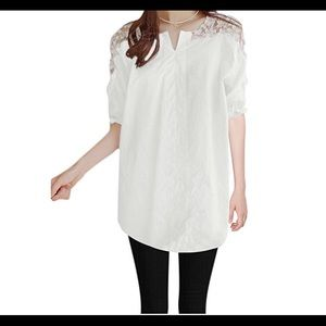 Tops - White tunic w/lace shoulders & 3/4 tie sleeves NWT