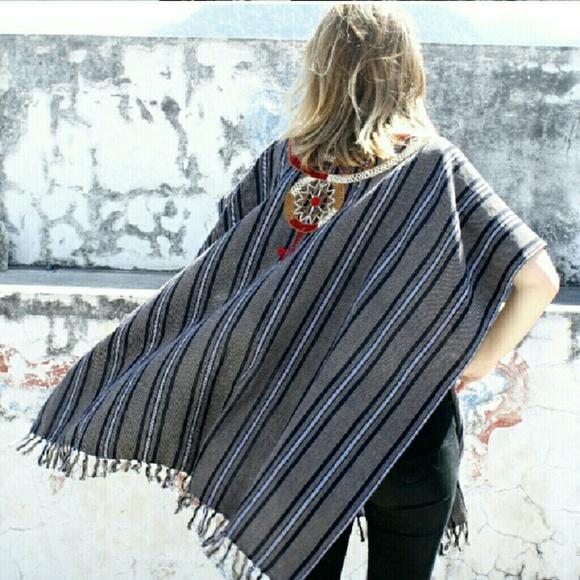 Ketzali Sweaters - Ketzali Tijonel Handmade Ruana with Embroidery