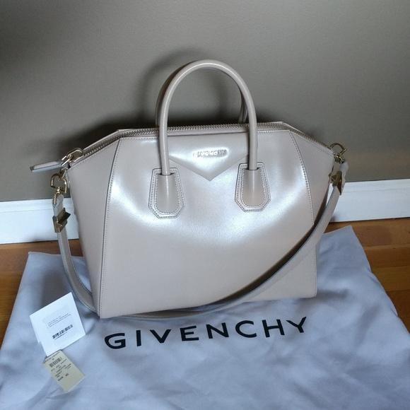 dcaebf5b3a Givenchy Handbags - Givenchy Antigona Glazed Leather Satchel in Sand