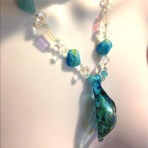 Blue Art Glass Necklace Blue Crystal