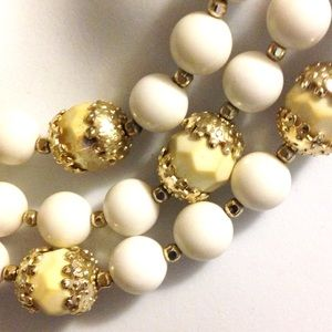 Jewelry - Vintage Inspired Triple Layer White Necklace