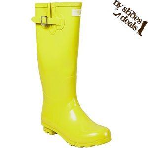 "Women's 14"" Yellow Rubber RainBoots RB-3106"