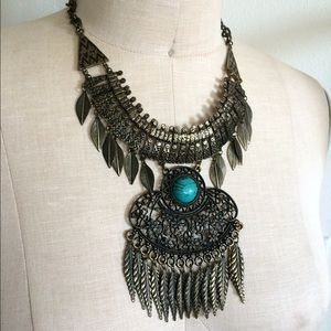 New antique brass faux turquoise boho necklace