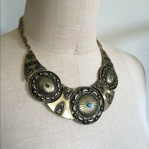 New bohemian concho statement necklace