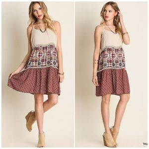 Umgee Color Block Printed Boho Dress