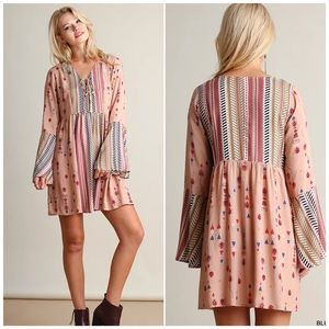 Umgee Blush Pink Bell Sleeve Printed Boho Dress