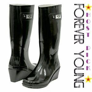 Women Tall Wedge Rainboots, #3100, Black