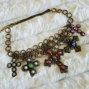 Jewelry - Jeweled crosses necklace GORGEOUS!! NWOT