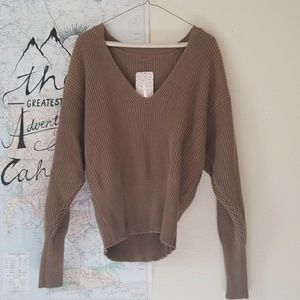 Free People Brown V-neck Sweater