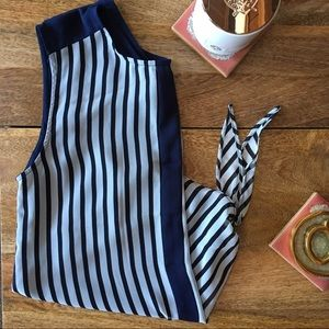Striped Chiffon Tank Top with Tie Front